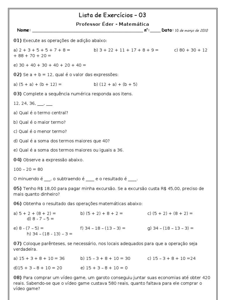 Lista De Exercicios 03 Operacoes Matematicas Sexto Ano