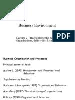 Business Environment -  Organisational Designs