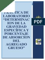 Practica de Laboratoriodeterminacion de La Gravedad Específica y Porcentaje de Absorcion Del Agregado Grueso