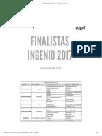 Finalistas Ingenio 2017 - Premios INGENIO