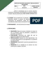 Procedimiento de Selección, Evaluacion y Revaluacion de Proveedores - Copia