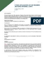 Reglamento Para Aplicación Ley de Régimen Tributario Interno LORTI 2017