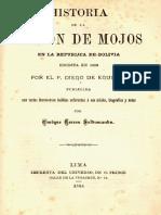 Diego de Aguiluz - Historia de la Misión de Mojos en la República de Bolivia, escrita en 1696