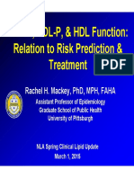 HDL-C HDL-P and HDL Function Relation to Risk Prediction and Treatment Mackey_rachel