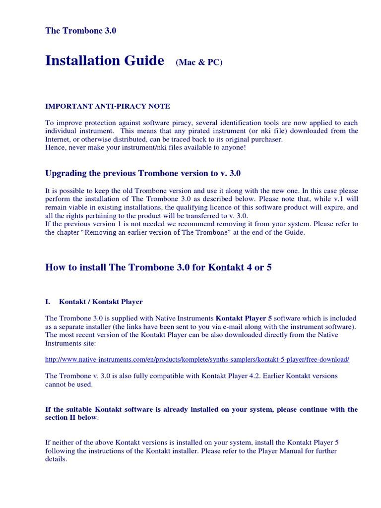 Installation Guide (Trombone 3 0) | Installation (Computer
