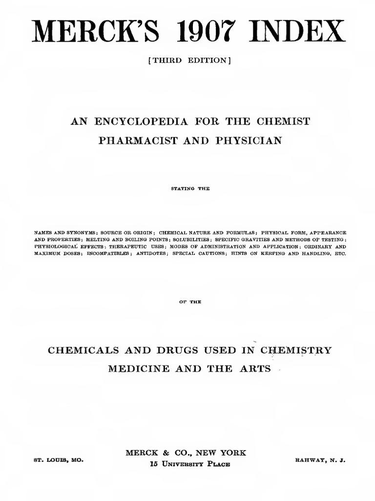 Merck Index 1907 | Drugs | Química