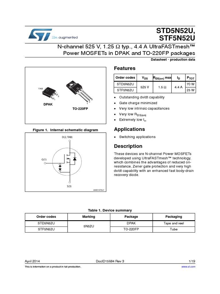 Transistor Power Mosfets In Dpak 5n52su Mosfet Diode Irfz44 Datasheet