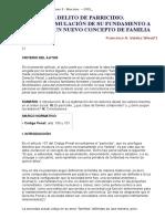 EL DELITO DE PARRICIDIO - UNA REFORMULACIÓN DE SU FUNDAMENTO A PARTIR DE UN NUEVO CONCEPTO DE FAMILIA.doc