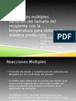 10.5 Reacciones Multiples. Variacion Del Tamaño Del Recipiente Con La Temperatura Para Obtener La Máxima Producción