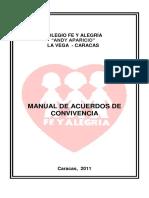 Manual de Acuerdos de Convivencia. Actualmente este documento esta en proceso de revisión y modificación