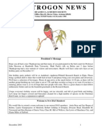 December 2005 Trogon Newsletter Huachuca Audubon Society