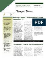 December 2008 Trogon Newsletter Huachuca Audubon Society