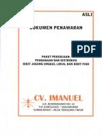 2.Penawaran CV. Imanuel-Jagung; Padi-Pembanding 1