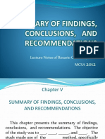 Summary of Findings, Conclusions, and Recommendations