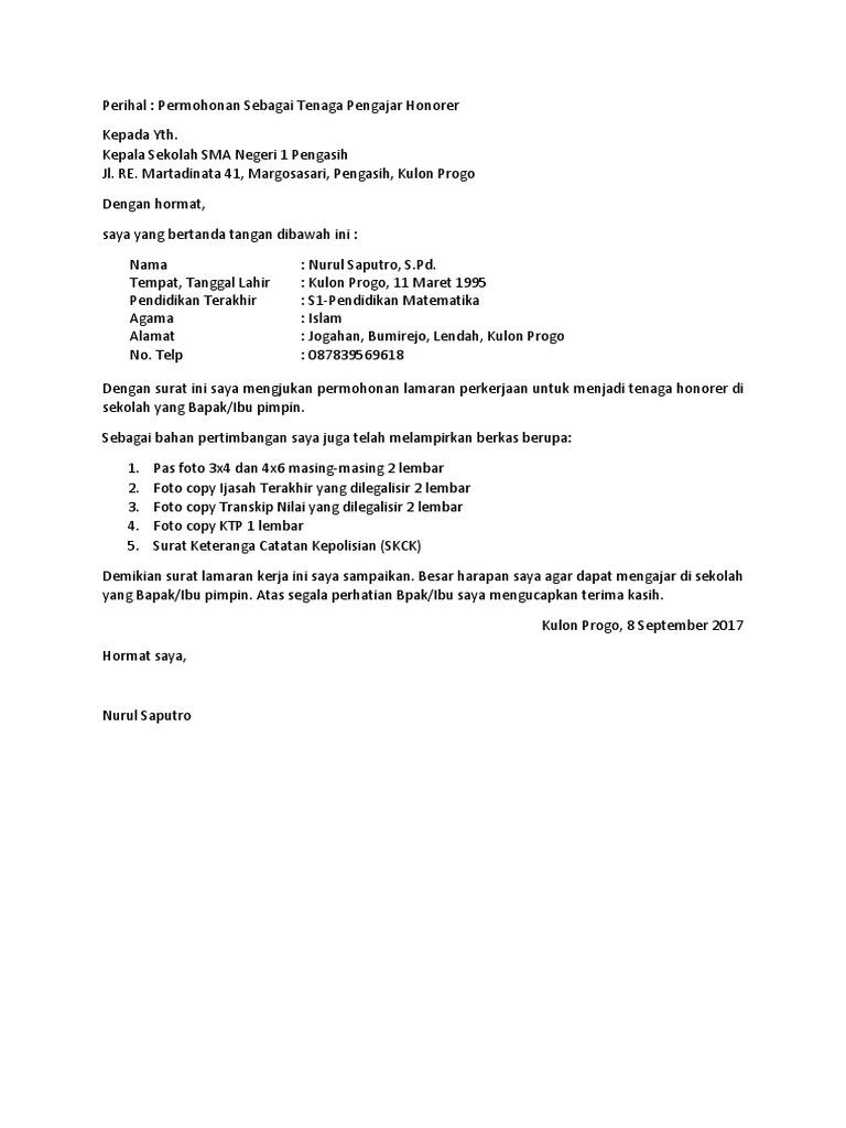 Contoh Surat Lamaran Kerja Guru Docx