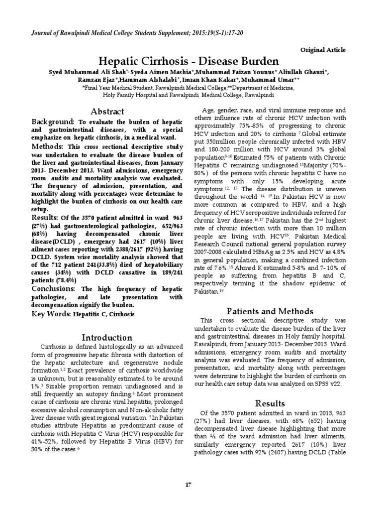 2015 Hepatic Cirrhosis - Disease Burden pdf   Hepatitis   Hepatitis C