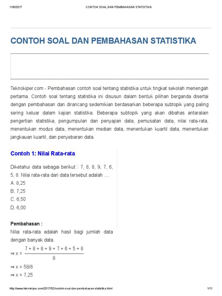 Contoh Soal Statistika Data Kelompok Dan Pembahasannya Contoh