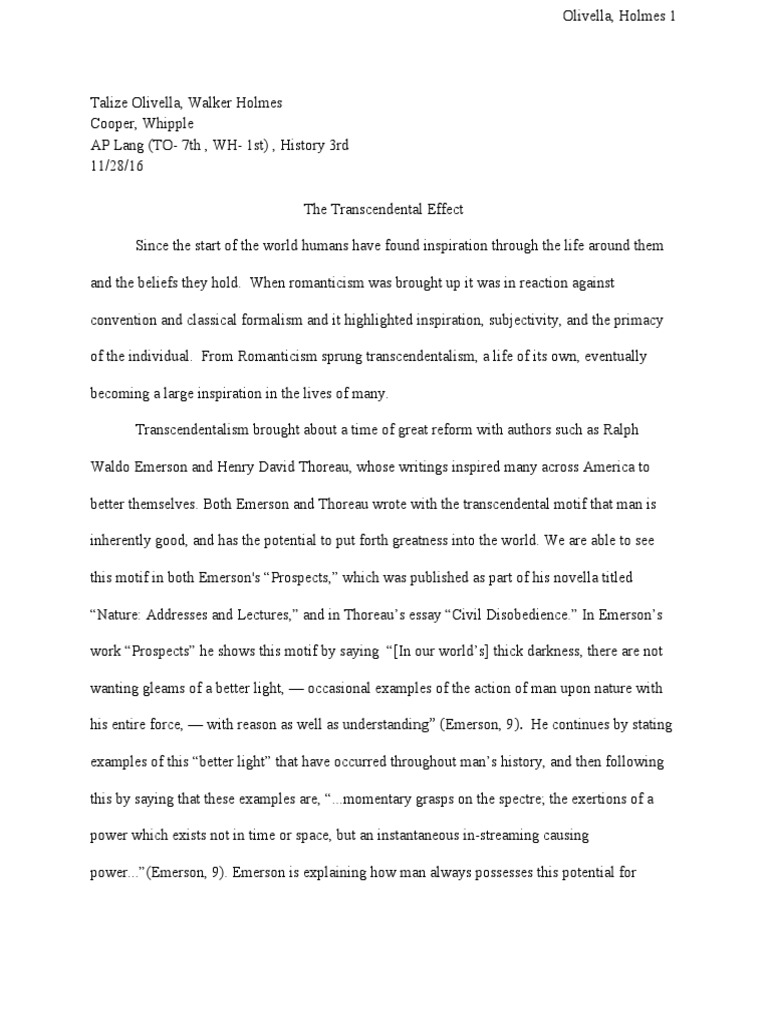 The nature essay transcendentalism essay causes and effects essay