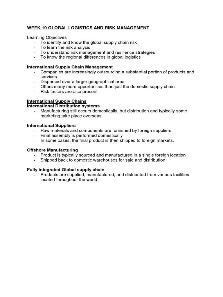 Week 10 Global Logistics and Risk Management MGMT3308