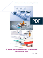 In Process Quality Control Tests (IPQC) For Parenteral or Sterile Dosage Forms