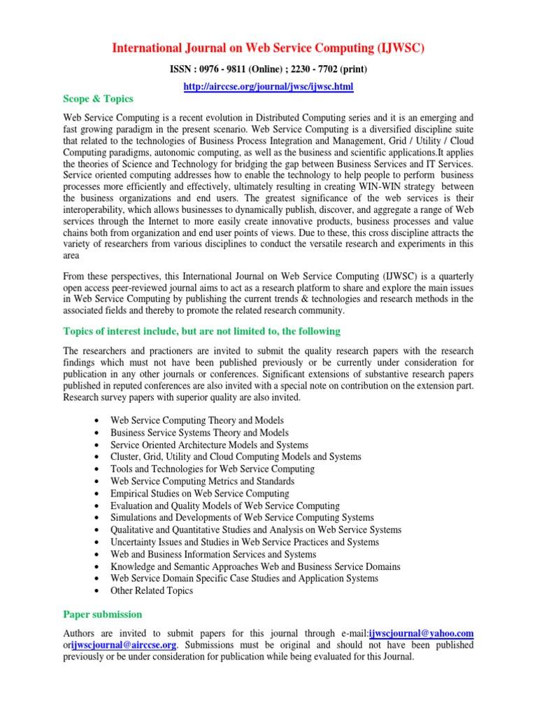 International Journal on Web Service Computing (IJWSC ...