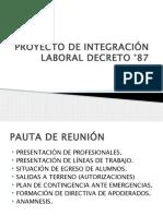 REUNIÓN PROYECTO DE INTEGRACIÓN LABORAL DECRETO °87
