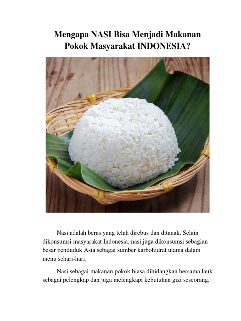 Mengapa Nasi Bisa Menjadi Makanan Pokok Orang Indonesia