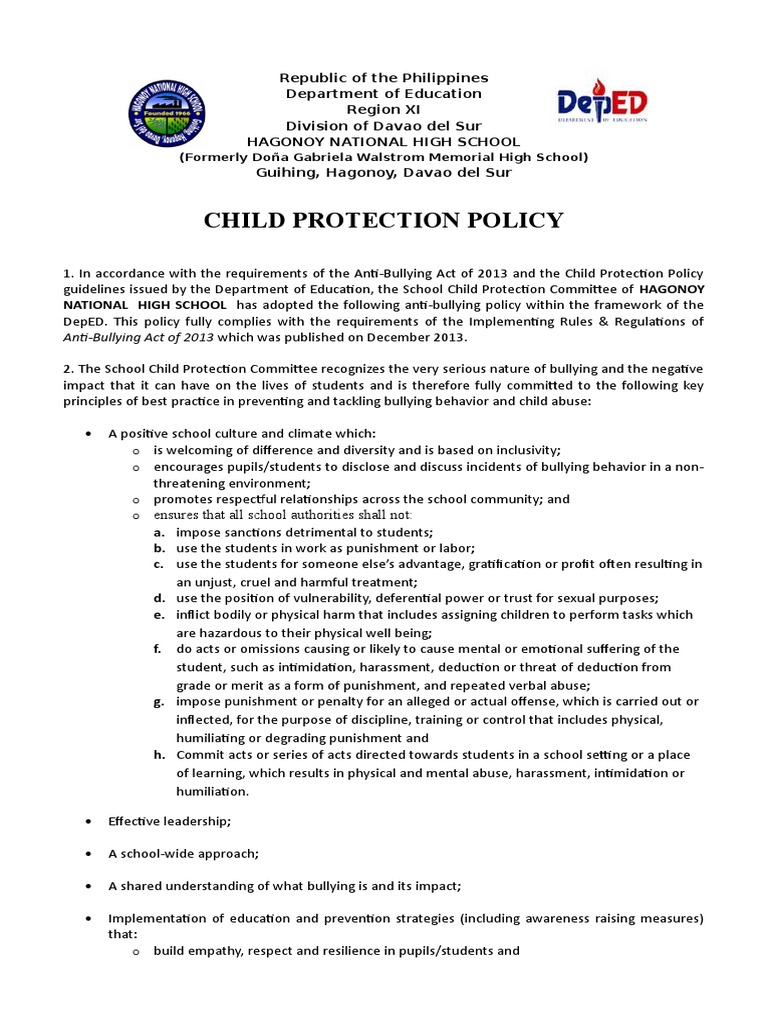 dorable child protection policy template crest documentation