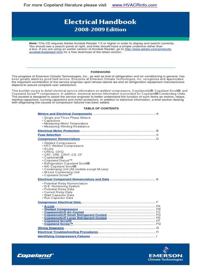 copeland electrical handbook pdf capacitor resistor rh scribd com Copelametic Manual Copelametic Manual
