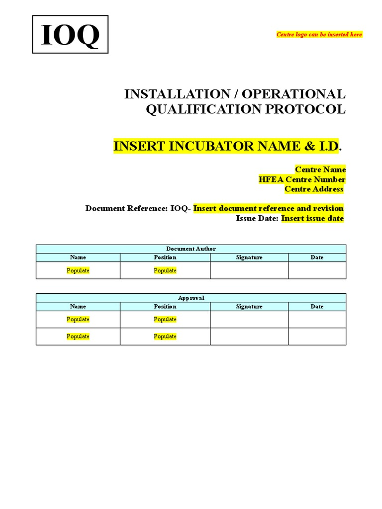 Ioq Incubator Template | Verification And Validation | Technology