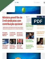 G1 Ministro Prevê Fim de Três Mil Sindicados Sem Impostos Sindical Obrigatório