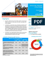 UNICEF DR Congo Humanitarian Situation Report, September - October 2017