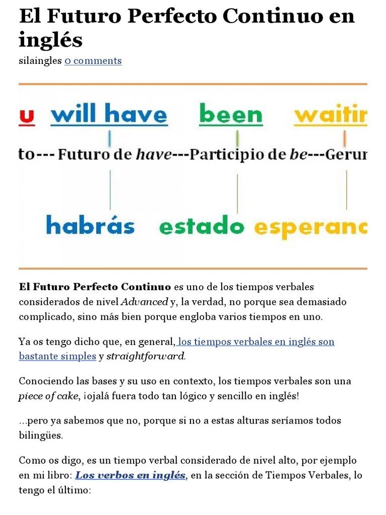 El Futuro Perfecto Continuo En Inglés Aprende Inglés Sila Idioma En Inglés Idiomas