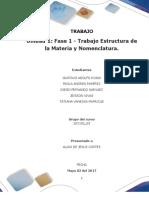 Formato Entrega Trabajo Colaborativo – Unidad 1 Fase 1 - Trabajo Estructura de La Materia y Nomenclatura_Grupo63