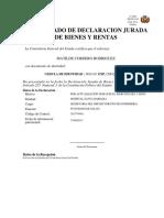 Certificado Único de Declaración Jurada de Bienes y Rentas