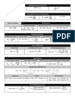 Thermodynamics Formulae Sheet