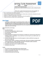 12 - one pager for learning cycle assessment
