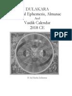 Dulakara Sidereal Ephemeris and Alamanac, and Vedic Calendar 2018 CE