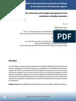 Responsabilidad social universitaria y dirección estratégica en las instituciones de educación superior