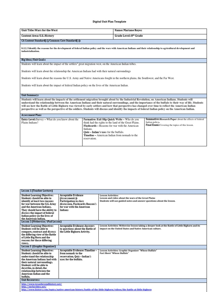 reyesdigital unit plan template | Native Americans In The