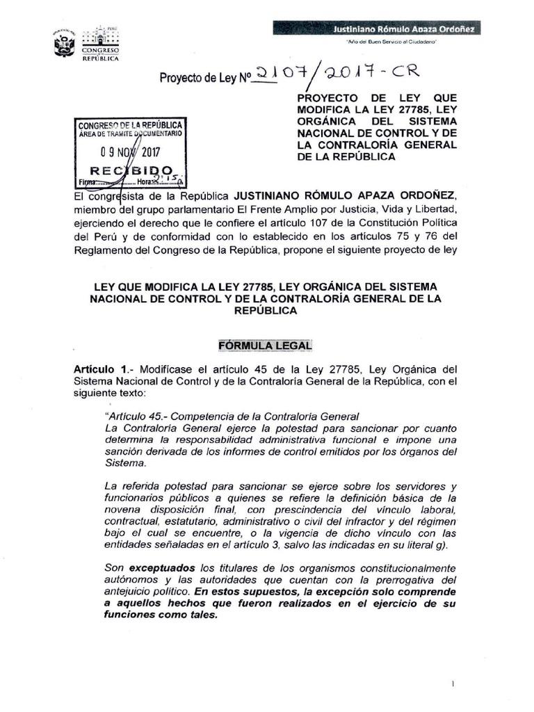 Proyecto De Ley Que Modifica Ley Que Modifica La Ley Orgánica Del