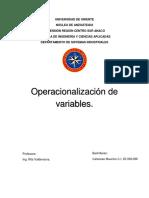 Operacionalización de variables.