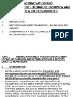 TOPIC 1. LECTURE. 34. Linking Innovation & Entrepreneurship