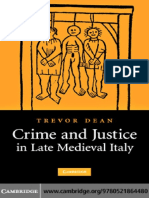 DEAN, T. Crime and Justice in Late Medieval Italy