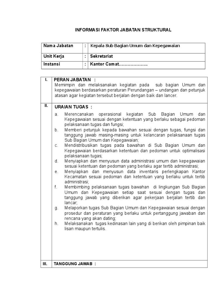 Contoh Evaluasi Jabatan Kecamatan Download Gambar Online