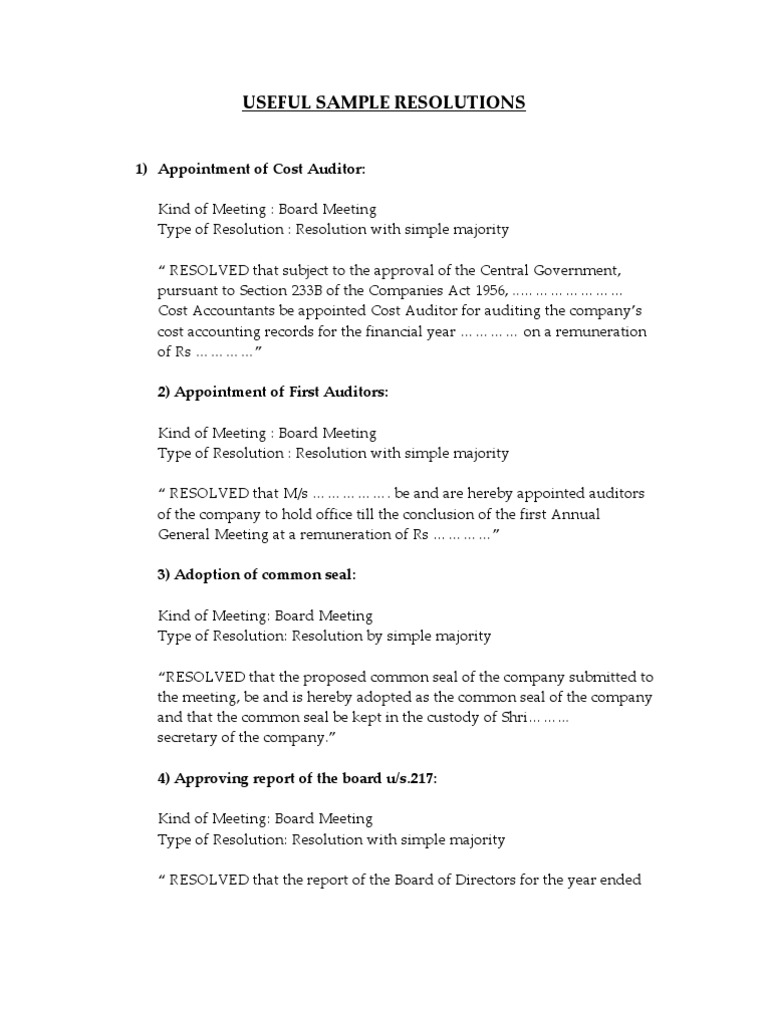 USEFUL SAMPLE RESOLUTIONS | Preferred Stock | Board Of Directors