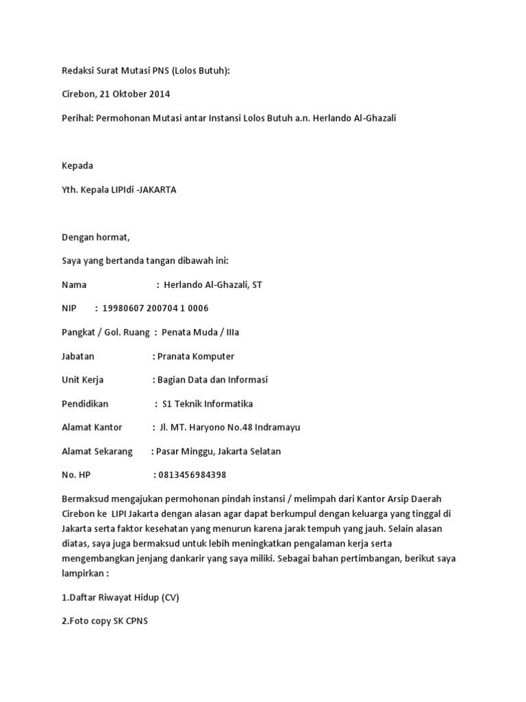 Contoh Surat Permohonan Mutasi Pns Edit Docx