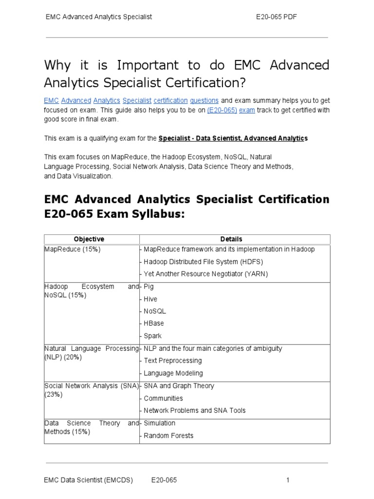 E20 065 Certification Guide And How To Crack Exam On Emc Advanced