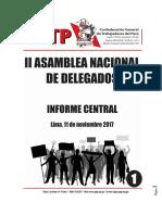 Informe Central del Consejo Directivo Nacional de la Confederación General de Trabajadores del Perú (CGTP)  a la II AND  11/11/17