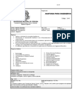 Anatomía Para Ingenieros Programa Analitico 2010-03